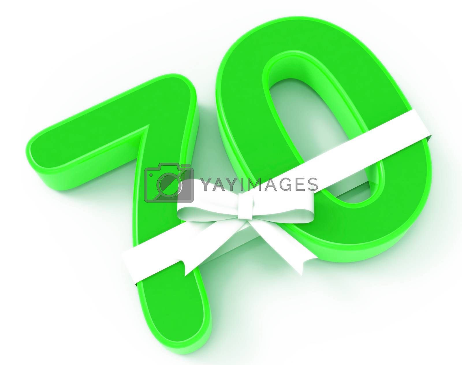 Royalty free image of Number Seventy With Ribbon Displays Birthday Congratulations Or  by stuartmiles