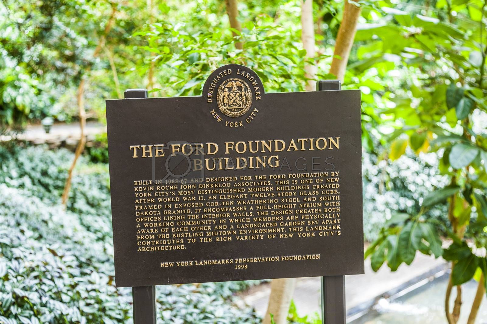 NEW YORK CITY - JUL 13: Building of the Ford Foundation, glass and brick combination with working community and garden on  July 13, 2010 in Manhattan, New York City. The compley was build in 1967 by Kevin Roche.