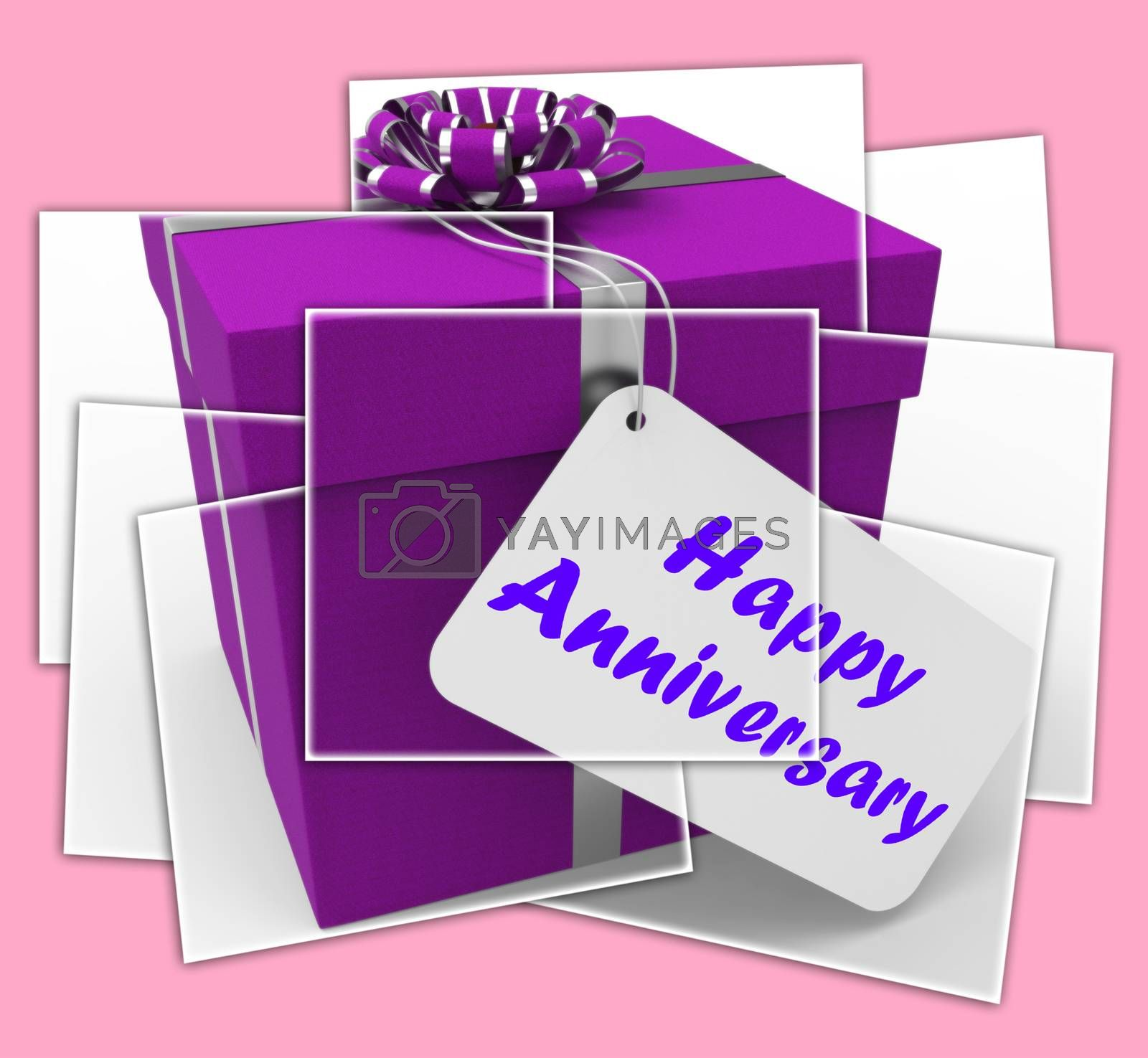 Royalty free image of Happy Anniversary Gift Displays Celebrating Years Of Marriage by stuartmiles
