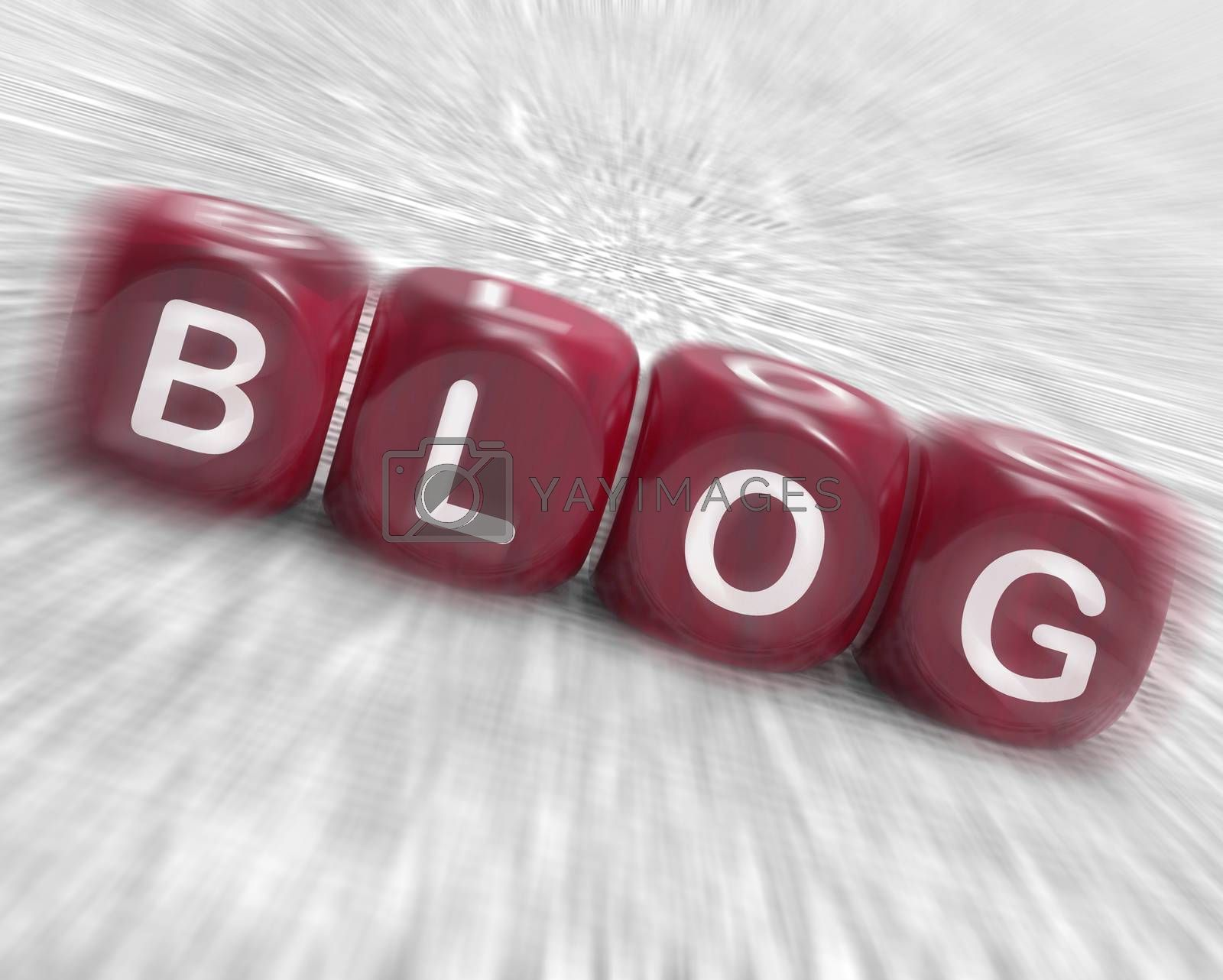 Royalty free image of Blog Dice Displays Writing News Marketing Or Opinion by stuartmiles