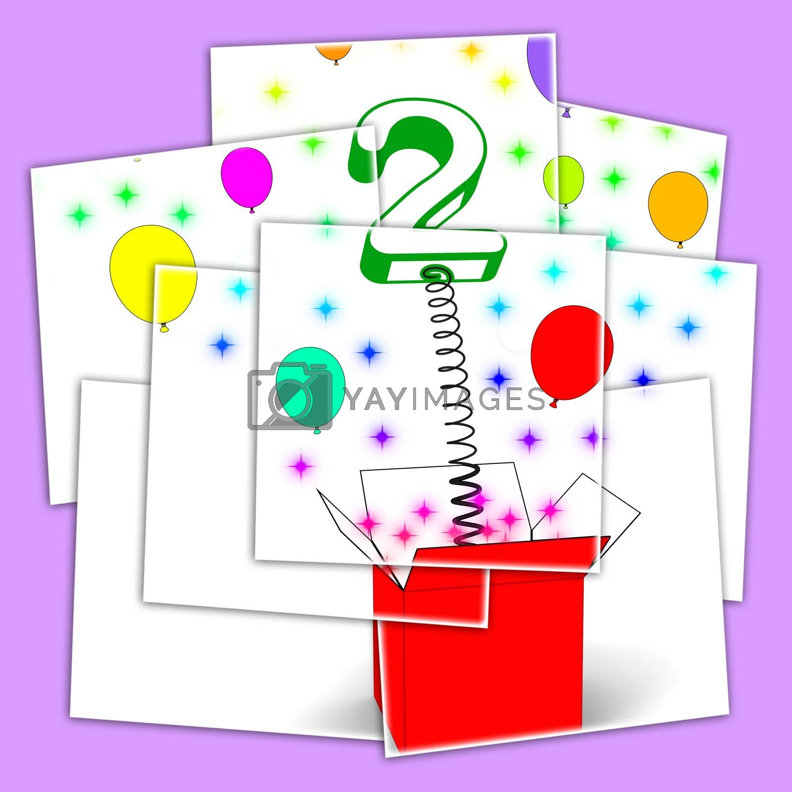 Royalty free image of Number Two Surprise Box Displays Creative Toy Or Adornment by stuartmiles