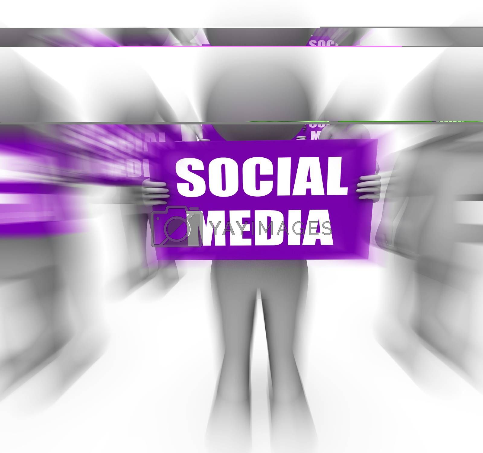 Royalty free image of Characters Holding Social Media Signs Displays Online Communitie by stuartmiles