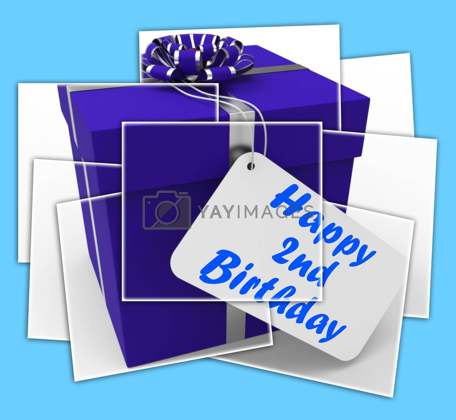 Royalty free image of Happy 2nd Birthday Gift Displays Celebrating Turning Two by stuartmiles
