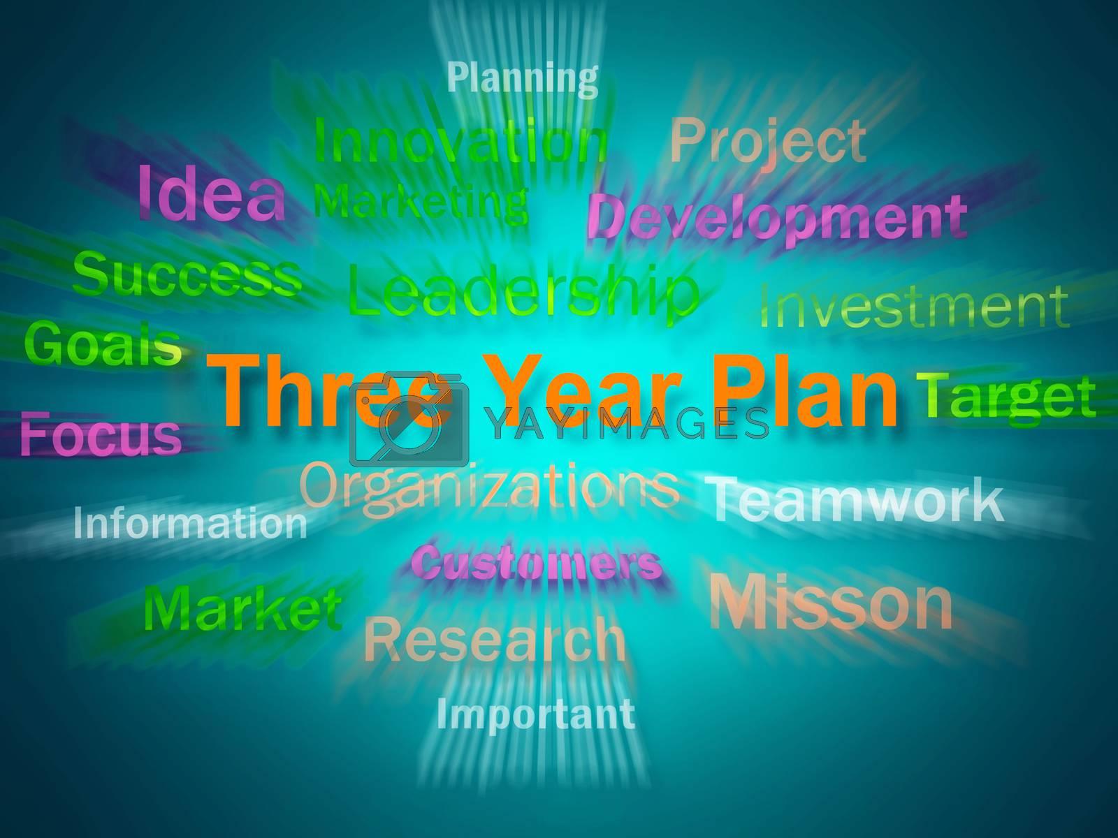 Royalty free image of Three Year Plan Brainstorm Displays Future Business Program by stuartmiles