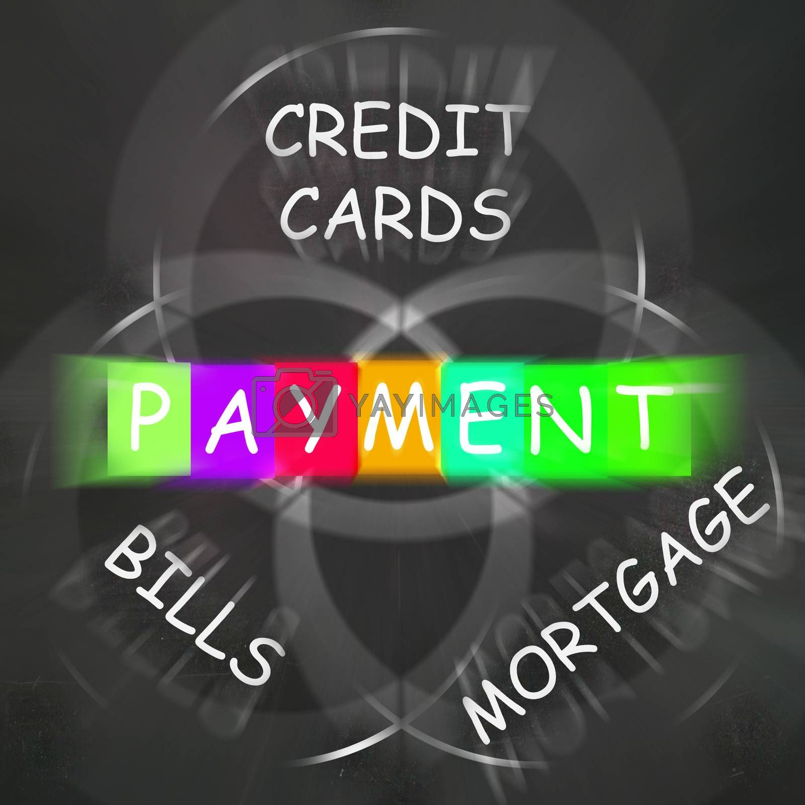 Royalty free image of Consumer Words Displays Payment of Bills Mortgage and Credit Car by stuartmiles