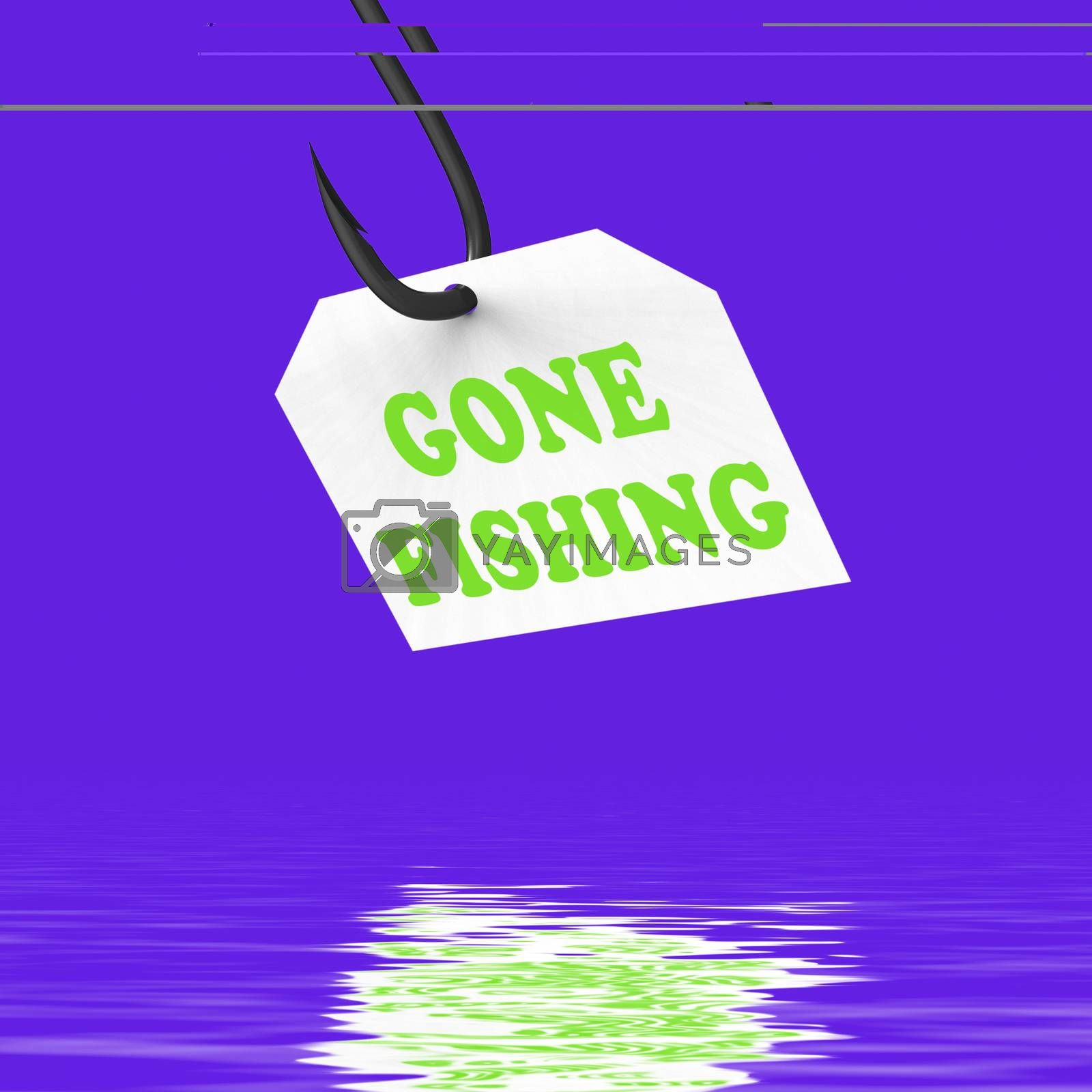 Royalty free image of Gone Fishing On Hook Displays Relaxing Get Away And Recreation by stuartmiles