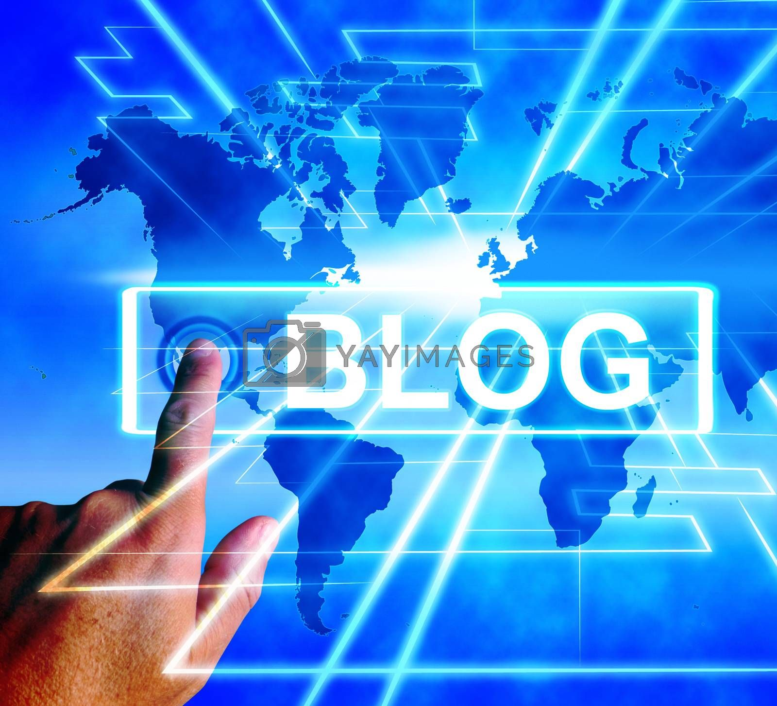 Royalty free image of Blog Map Displays Internet or Worldwide Blogging by stuartmiles