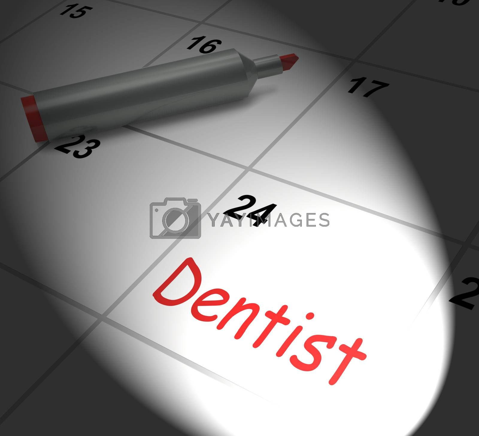 Dentist Calendar Displaying Oral Health And Dental Appointment