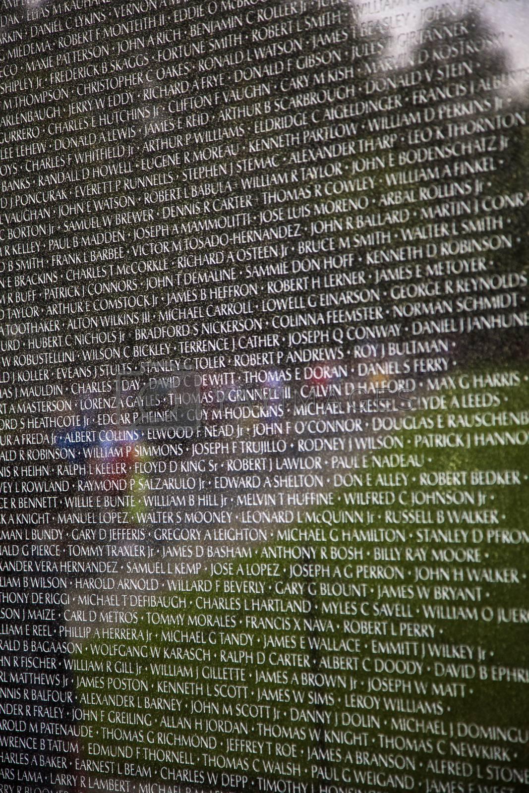 Royalty free image of Names of Vietnam war casualties at Veterans Memorial by meinzahn