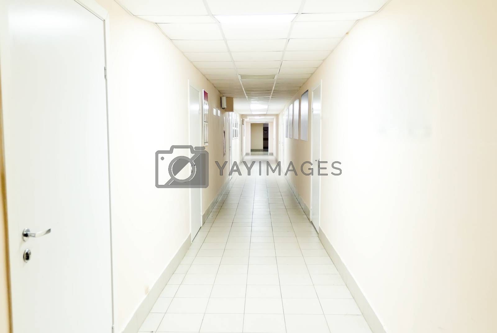Royalty free image of Hospital corridor interior without sicks by Julialine