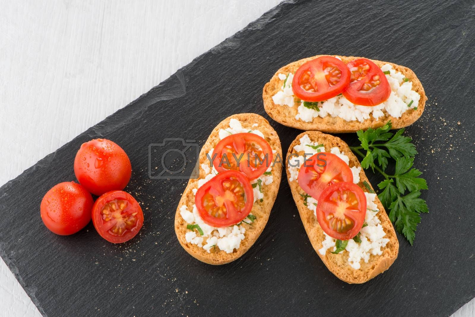 Royalty free image of Bread with cottage by homydesign