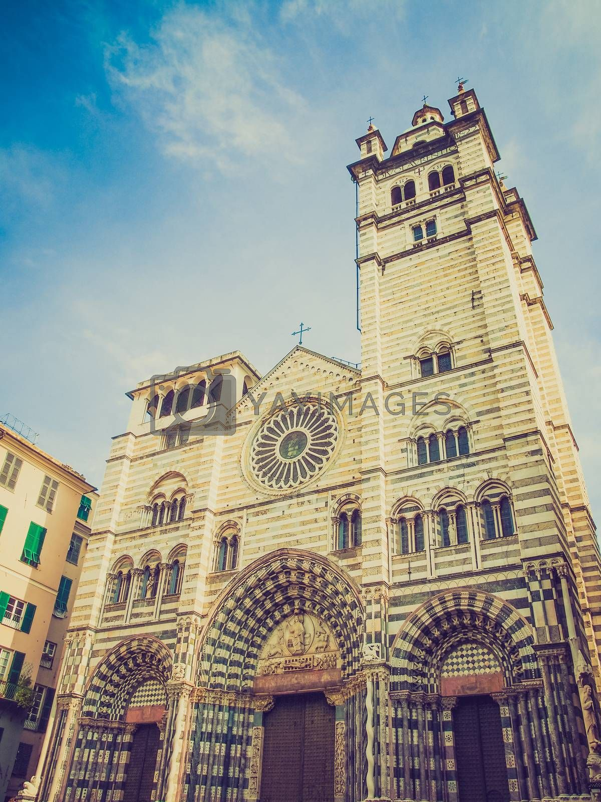 Royalty free image of Retro look St Lawrence cathedral in Genoa by claudiodivizia