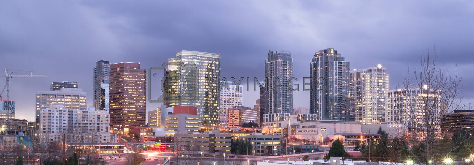 Royalty free image of Bright Lights City Skyline Downtown Bellevue Washington United S by ChrisBoswell