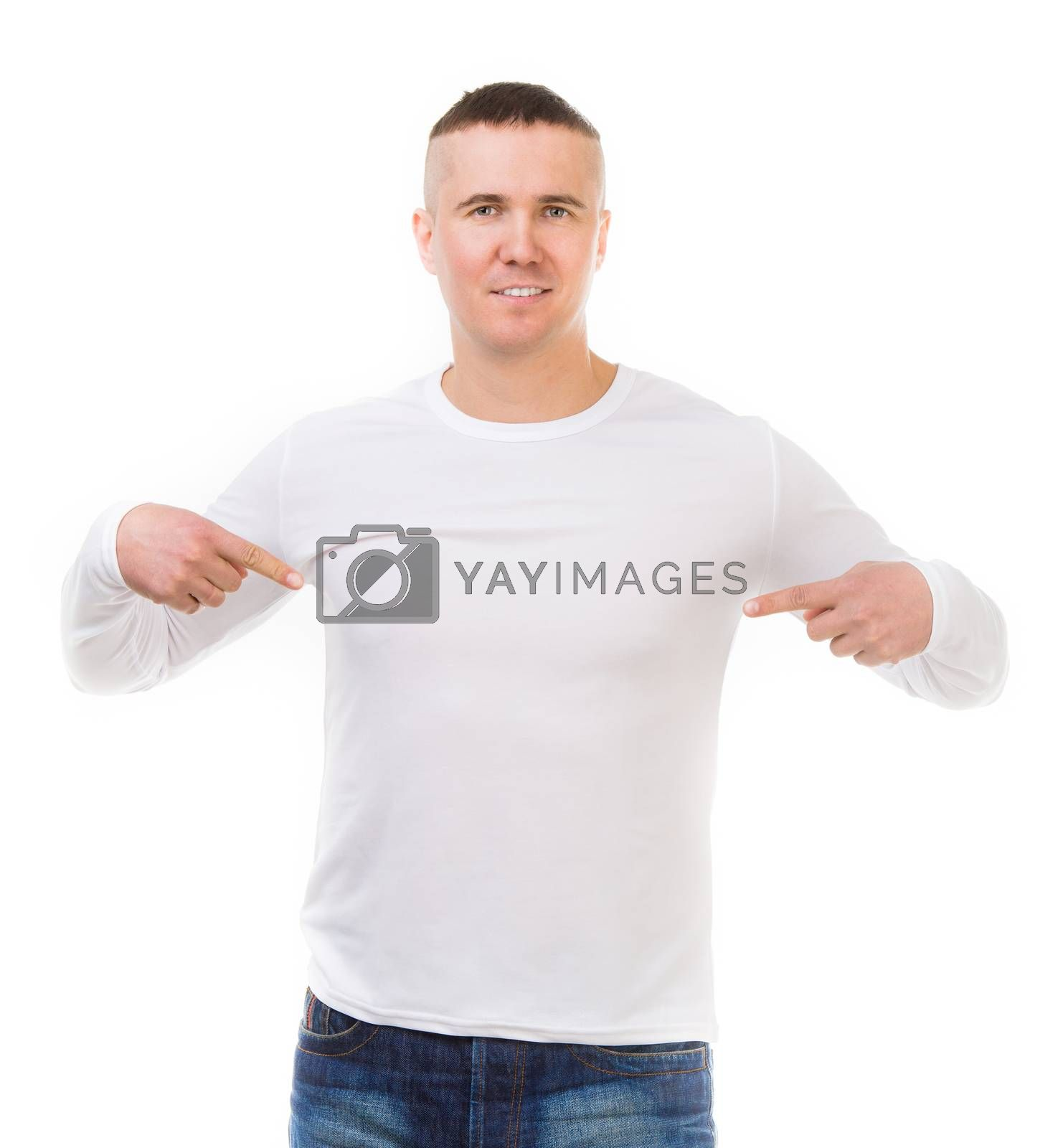 Royalty free image of man in a white shirt with long sleeves by GekaSkr