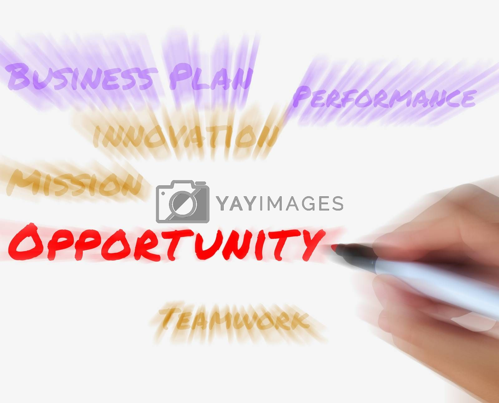 Royalty free image of Opportunity on Whiteboard Displays Hope Chance Luck or Advantage by stuartmiles