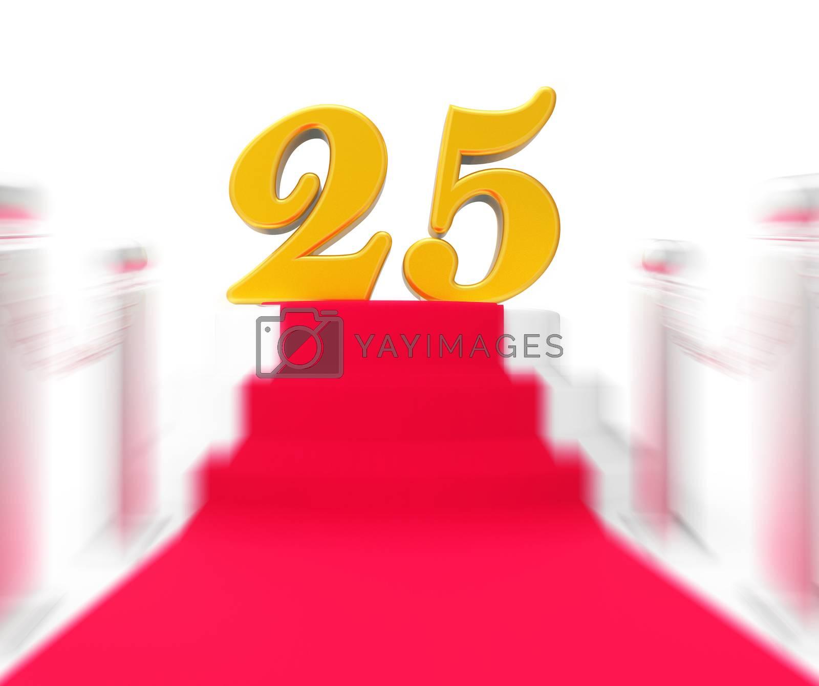 Royalty free image of Golden Twenty Five On Red Carpet Displays Twenty Fifth Anniversa by stuartmiles