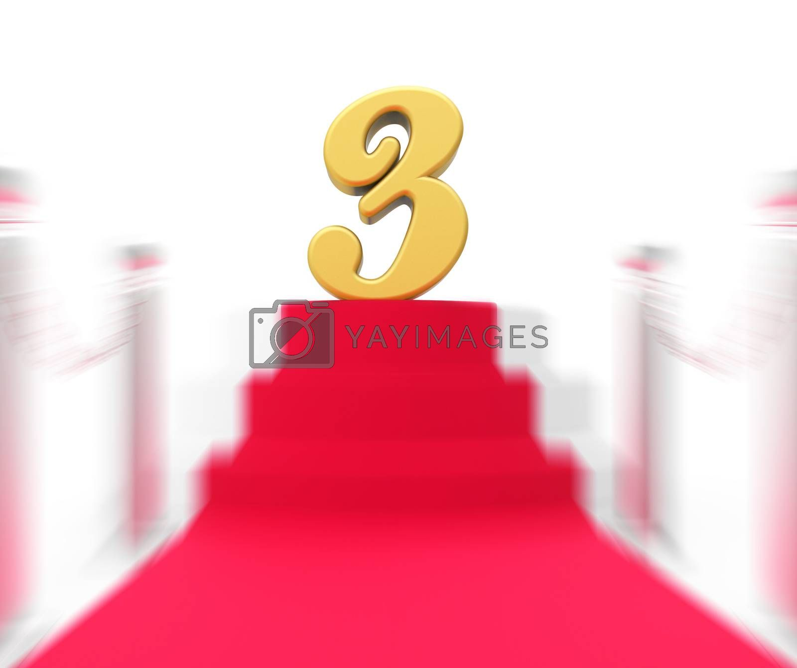Royalty free image of Golden Three On Red Carpet Displays Shiny Stage Or Anniversary P by stuartmiles