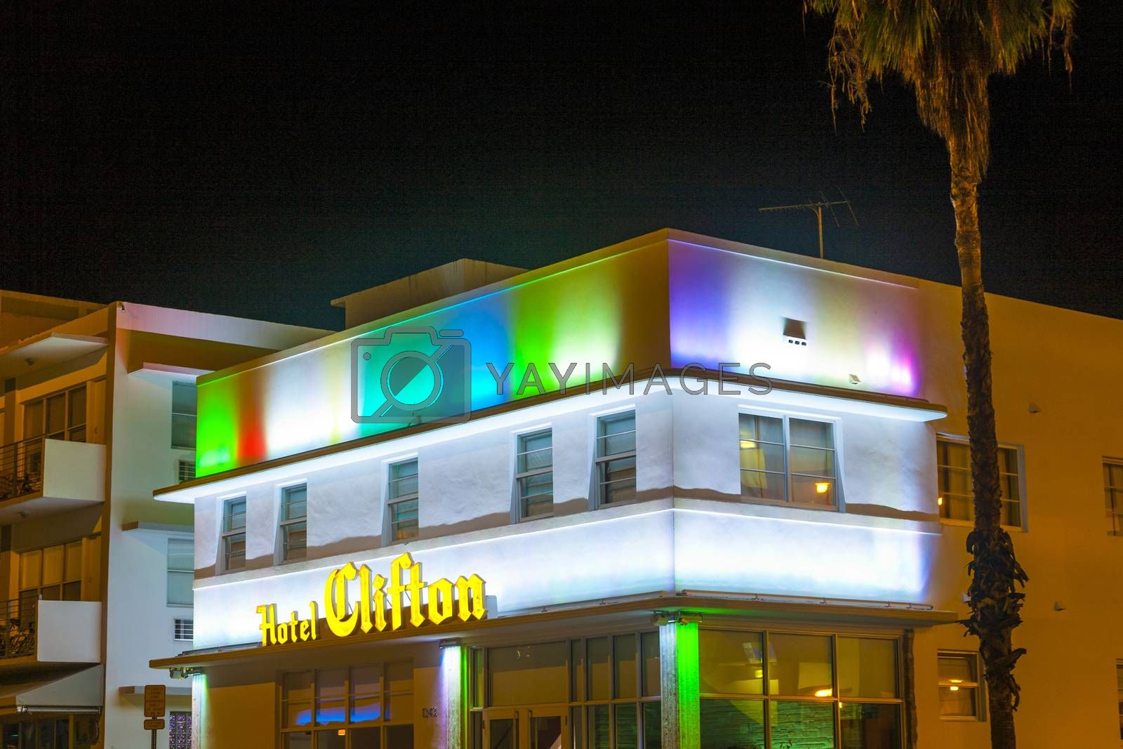 Royalty free image of Hotel the Clifton in South Beach by night by meinzahn