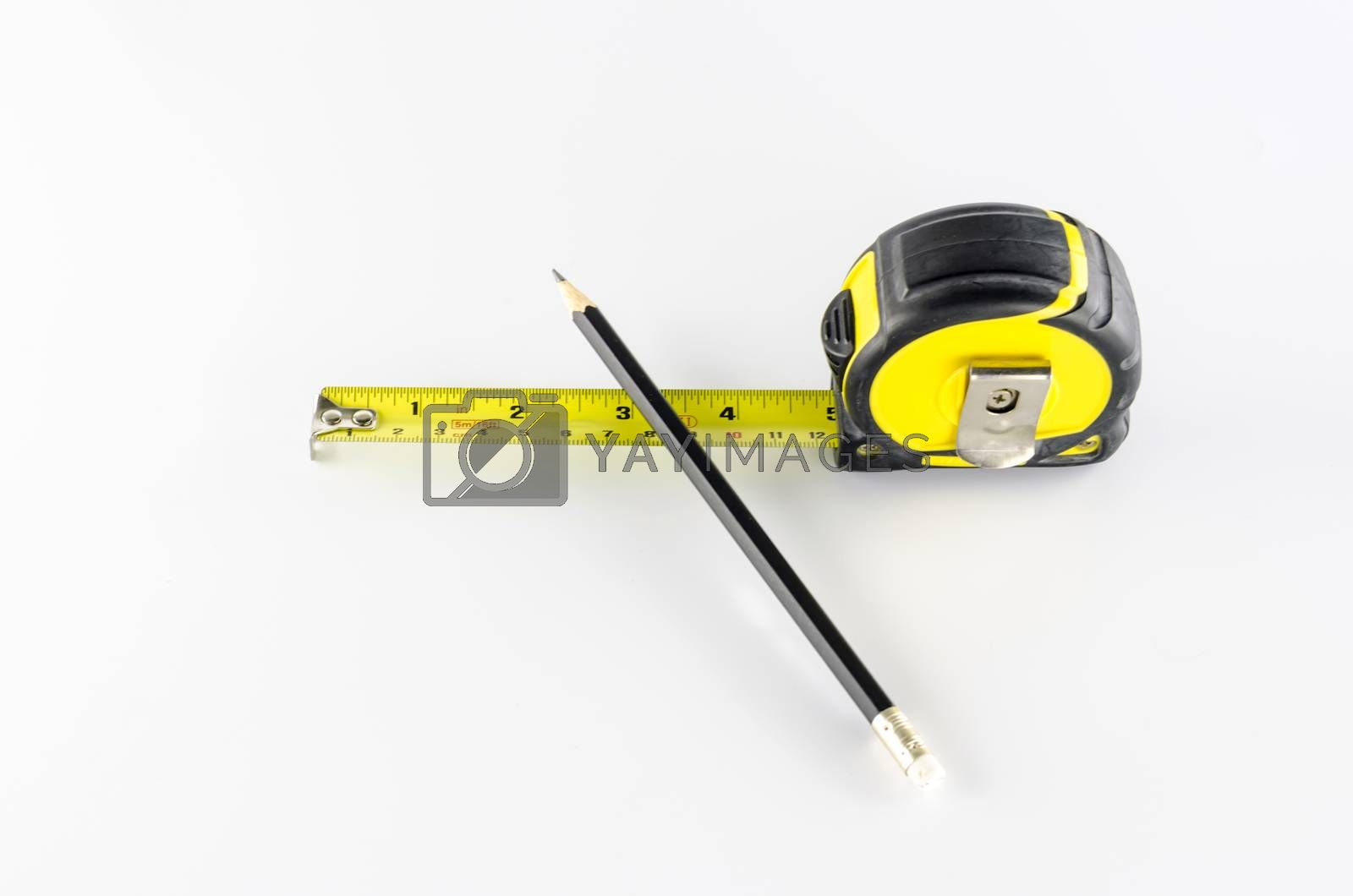 Royalty free image of measuring tape with pencil by ammza12