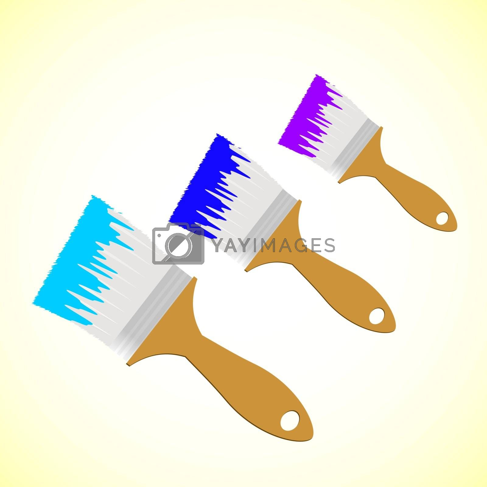Three colour paint brushes on yellow smooth background, vector illustration
