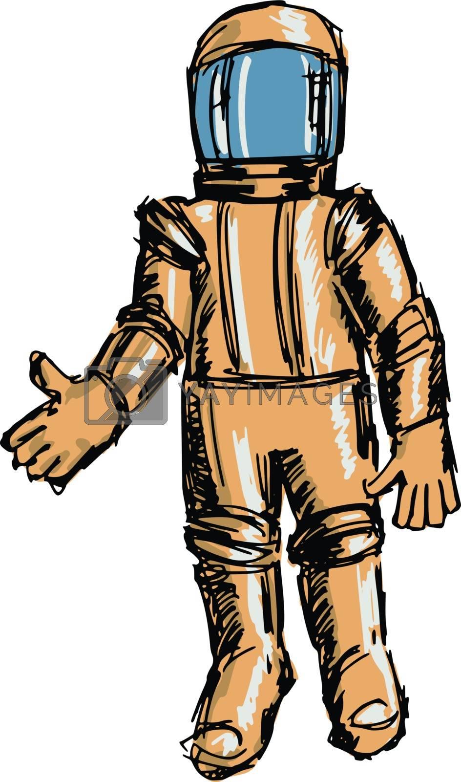 hand drawn, sketch, cartoon illustration of astronaut