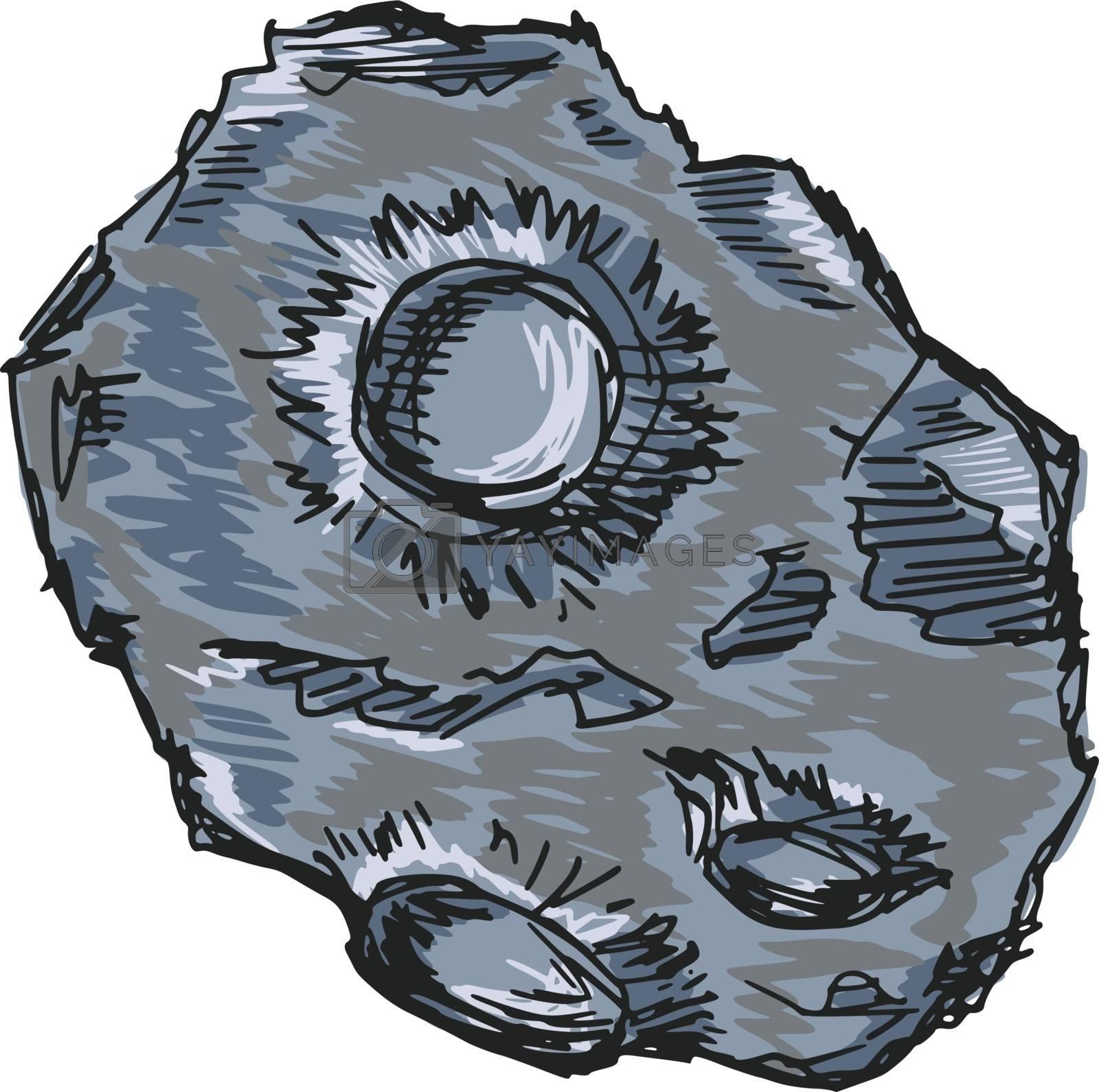 hand drawn, sketch, cartoon illustration of asteroid