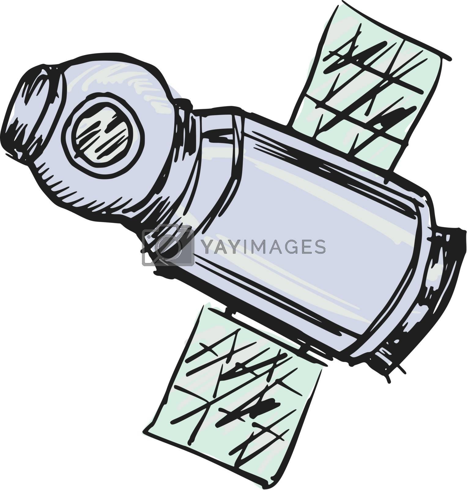 hand drawn, sketch, cartoon illustration of spacecraft