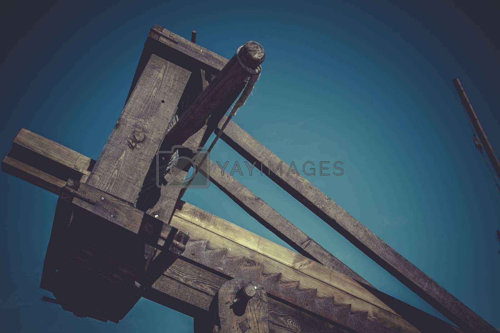 Medieval siege weapons, crossbows, onagers, catapults and battering rams
