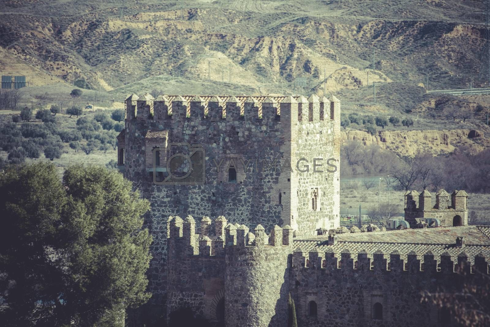 City wall of Toledo, Spanish imperial city famous for its huge h by FernandoCortes