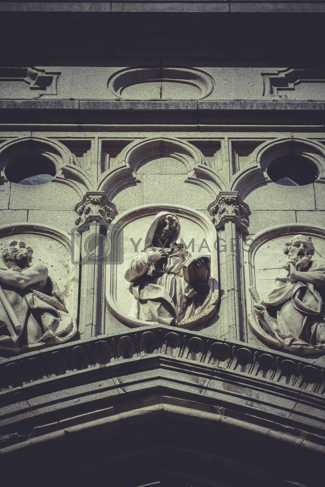 Toledo, imperial city. sculptures on the facade of the Cathedral by FernandoCortes