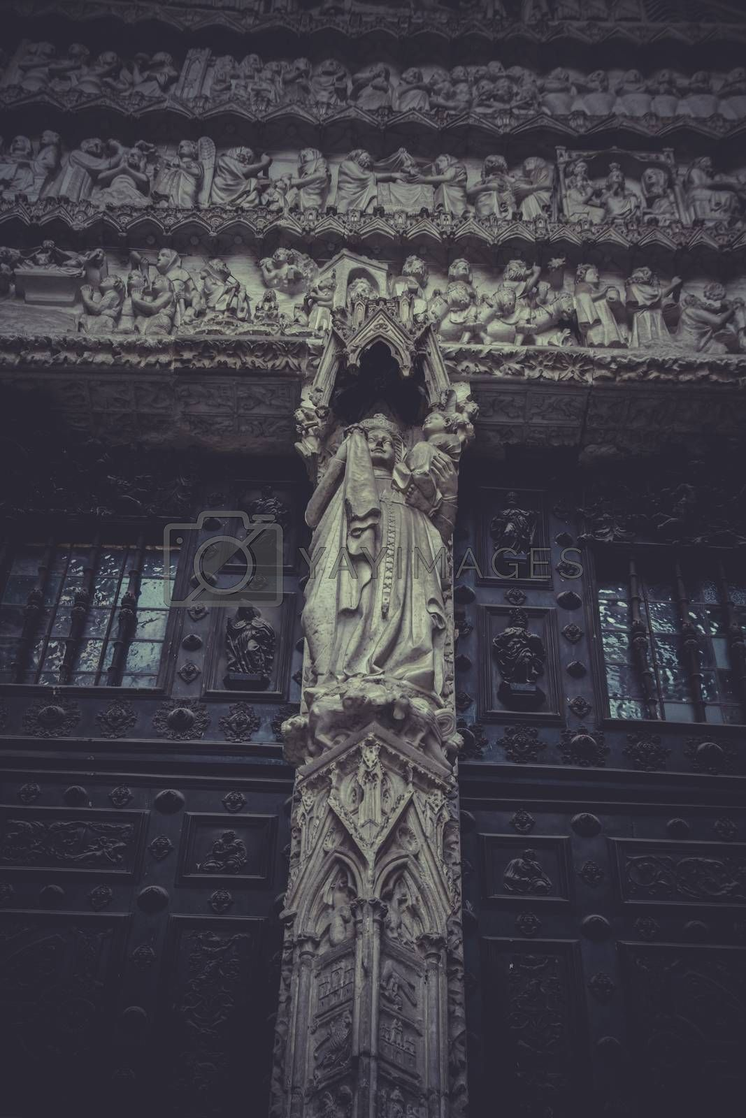 side entrance of the Cathedral of Toledo, arc with religious reliefs