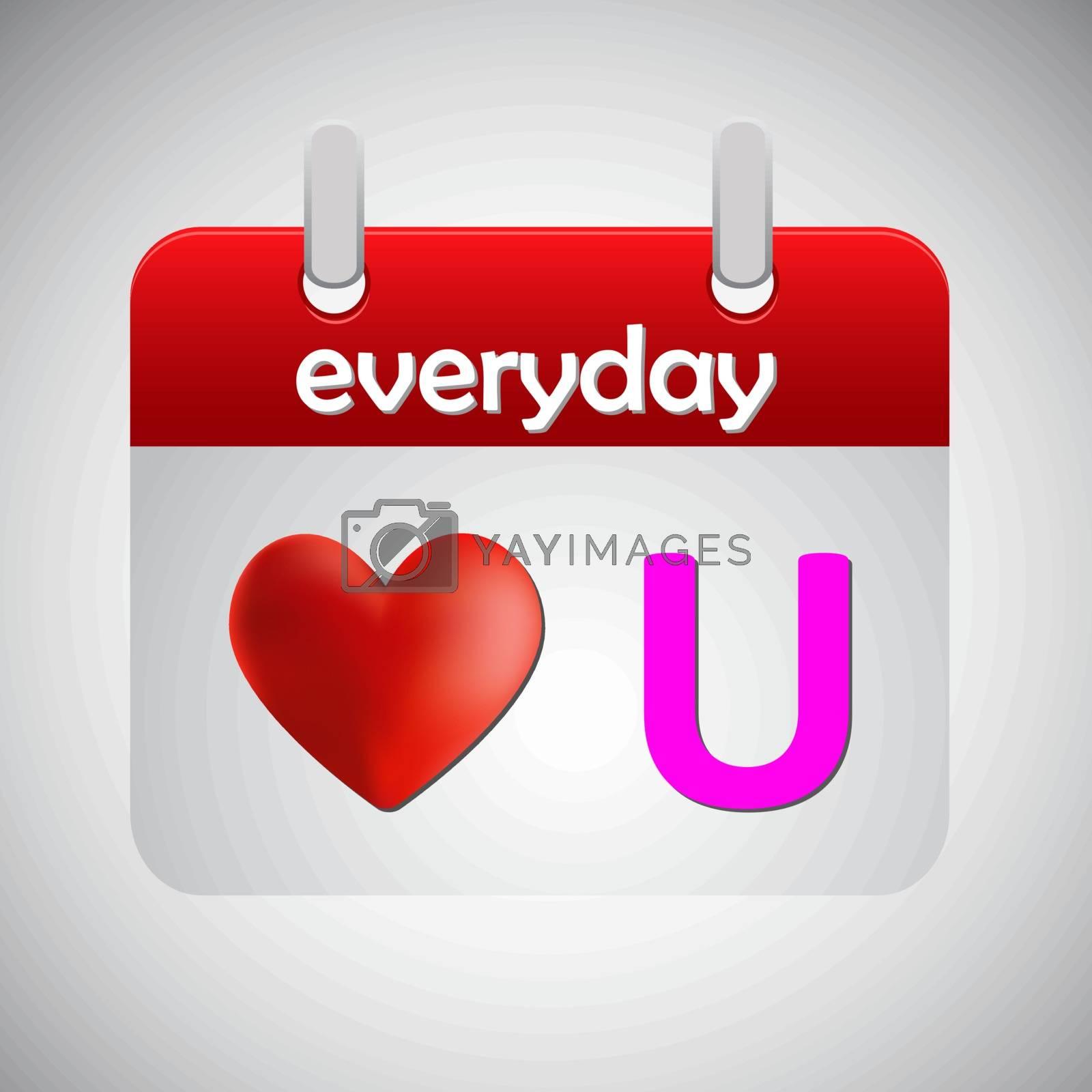 Love you everyday calendar icon, vector illustration