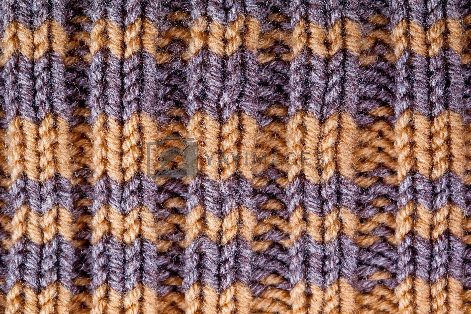 closeup macro background of striped knitted texture