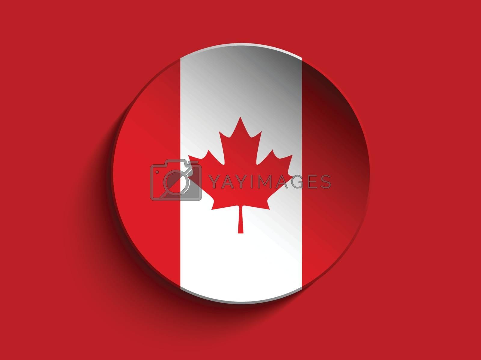 Vector - Flag Paper Circle Shadow Button Canada