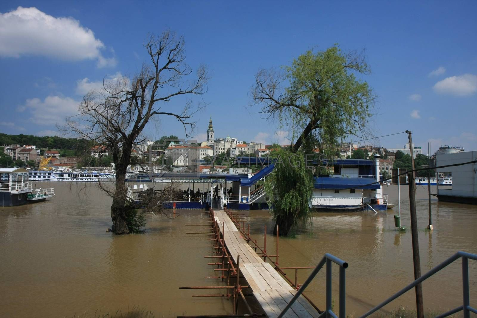 Restorants on the water at the time of fluod of Sava river,Belgrade,Serbia