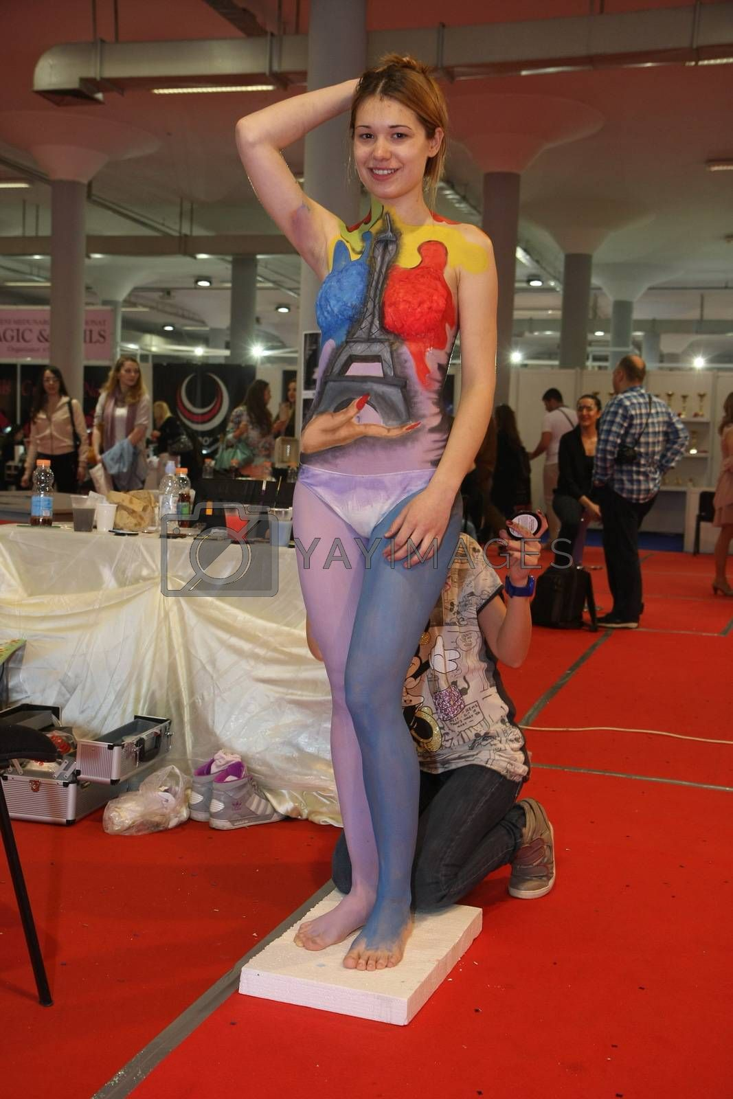 Body art at 23th iinternational fair and congress of cosmetics, solarium, equipment, wellness, spa and hair care, the largest beauty fair in South-east Europe, The touch of Paris, 26th and 27th April 2014. Belgrade,Serbia