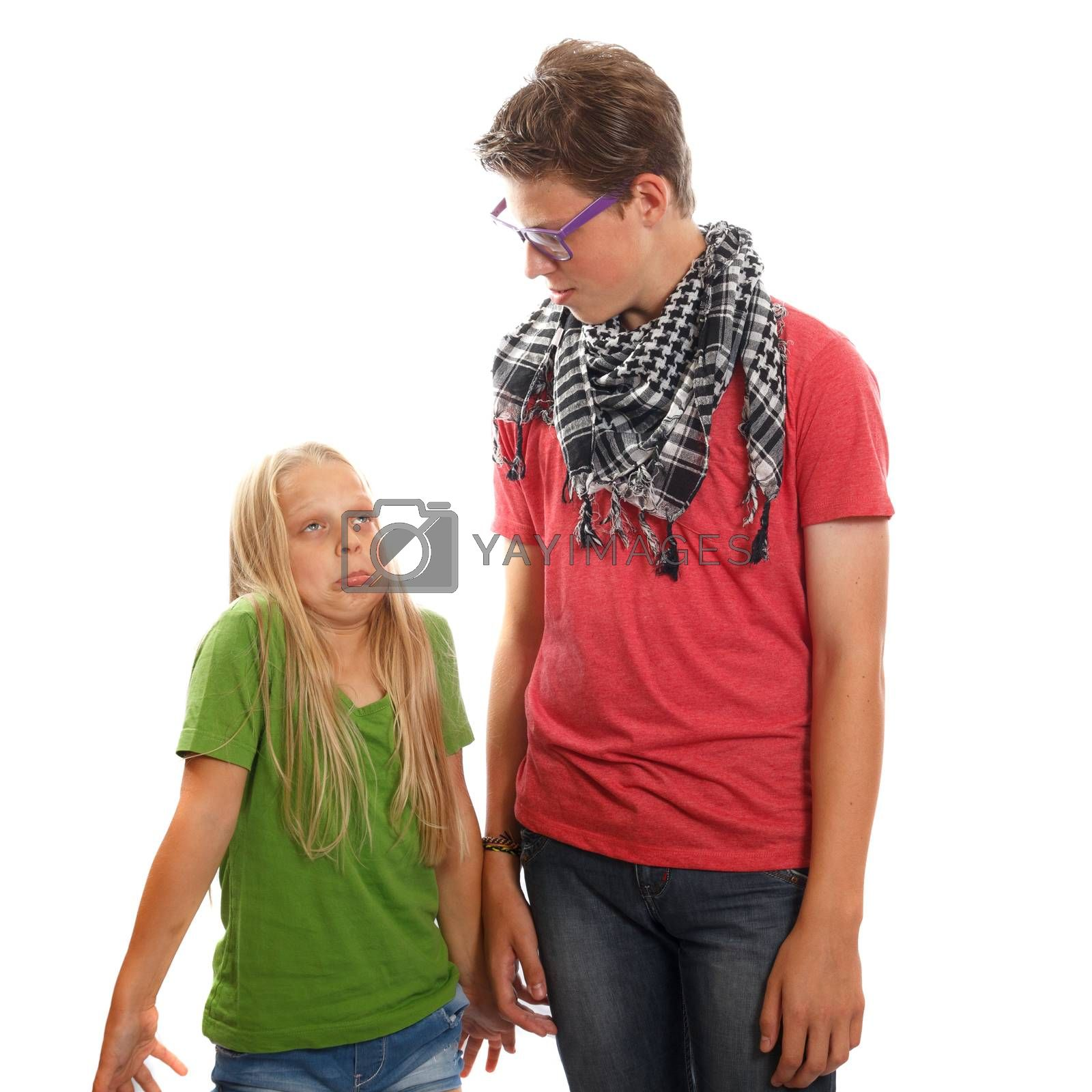 A hipster teen boy and a young girl
