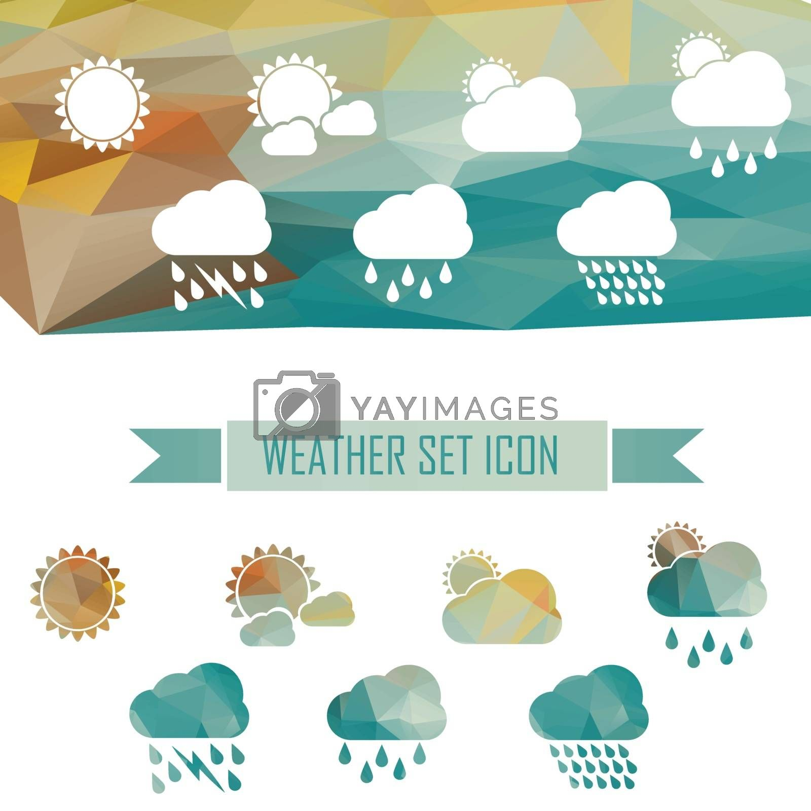 weather web icons crystal effect. sun and clouds