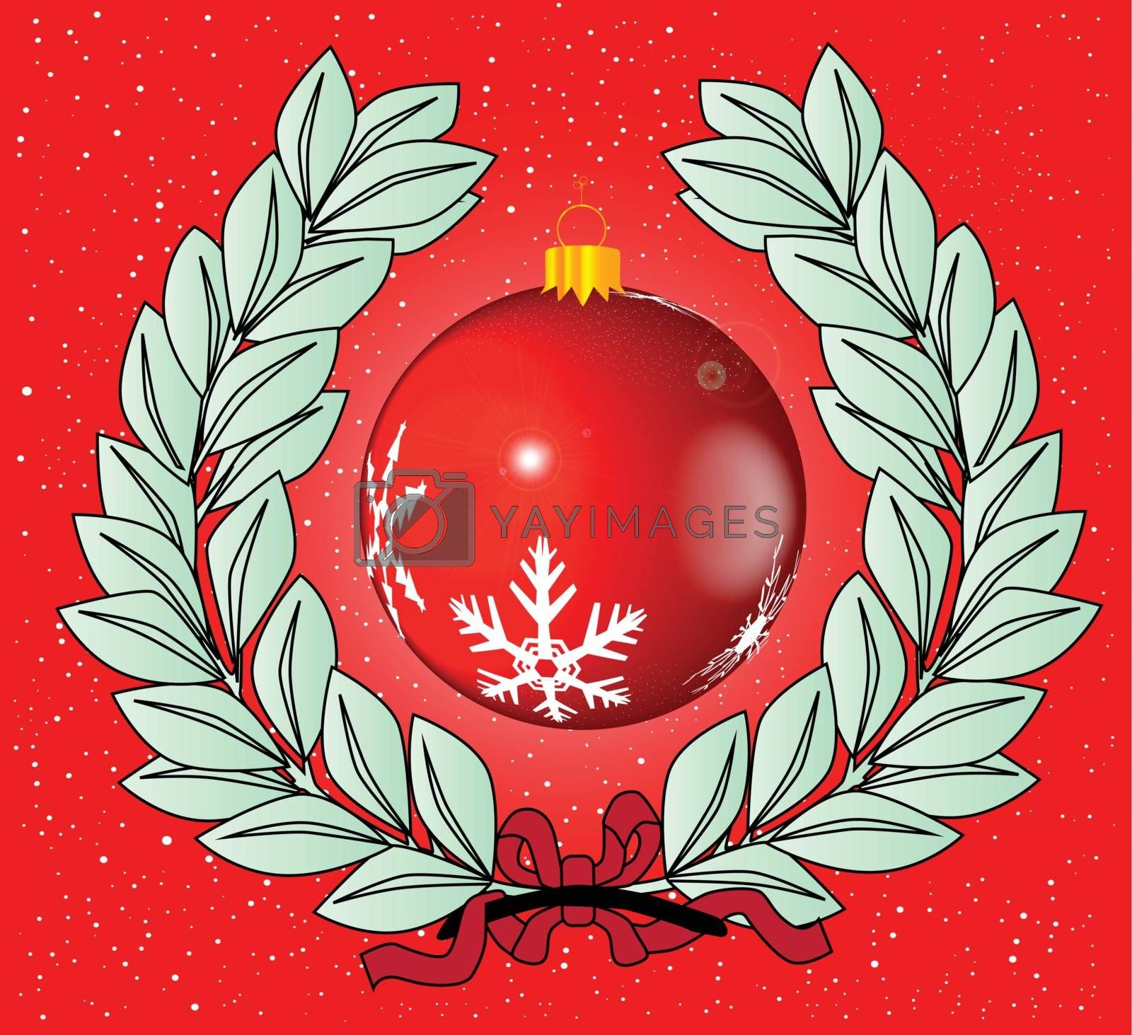 A Christmas wreath with a decoration set on a red and white background