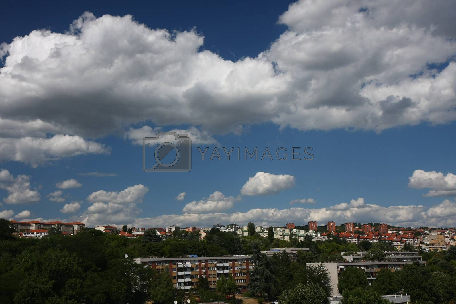 Sky and clouds over Belgrade,the capital of Serbia
