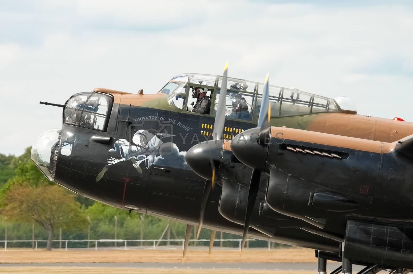 Farnborough, UK - July 24, 2010: Cockpit closeup of the last flying WW2 Lancaster bomber at the Farnborough Airshow, UK