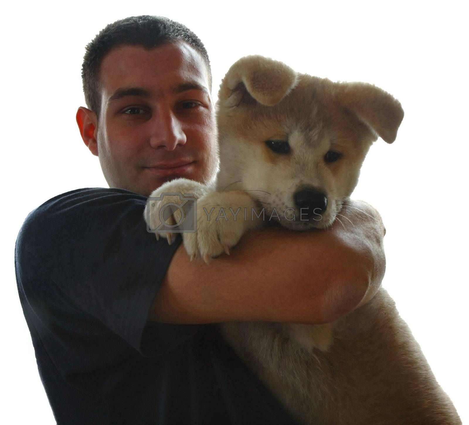 Puppy of Japanese dog Akita Inu,with his owner