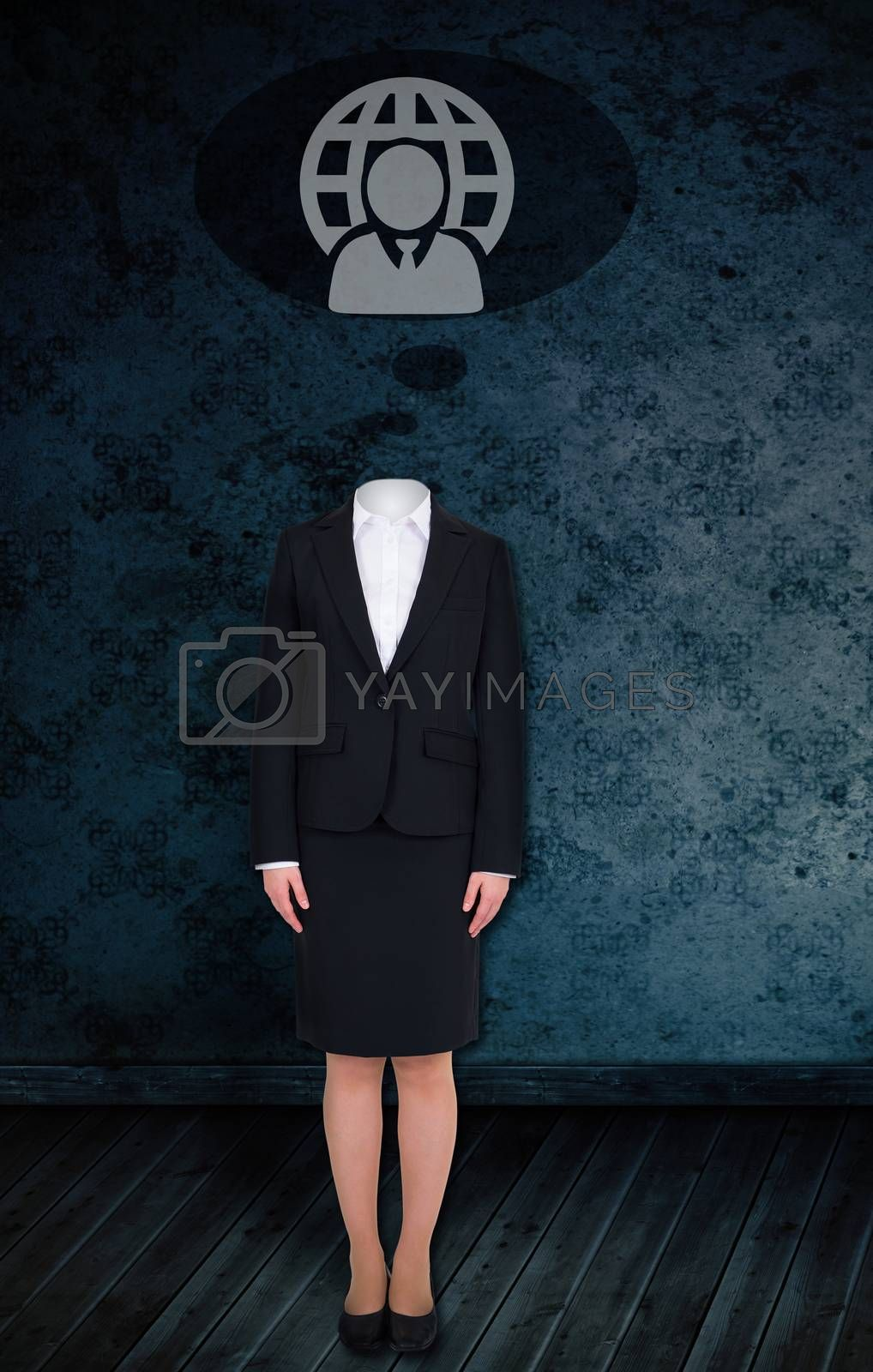 Composite image of headless businesswoman with doodle against dark grimy room