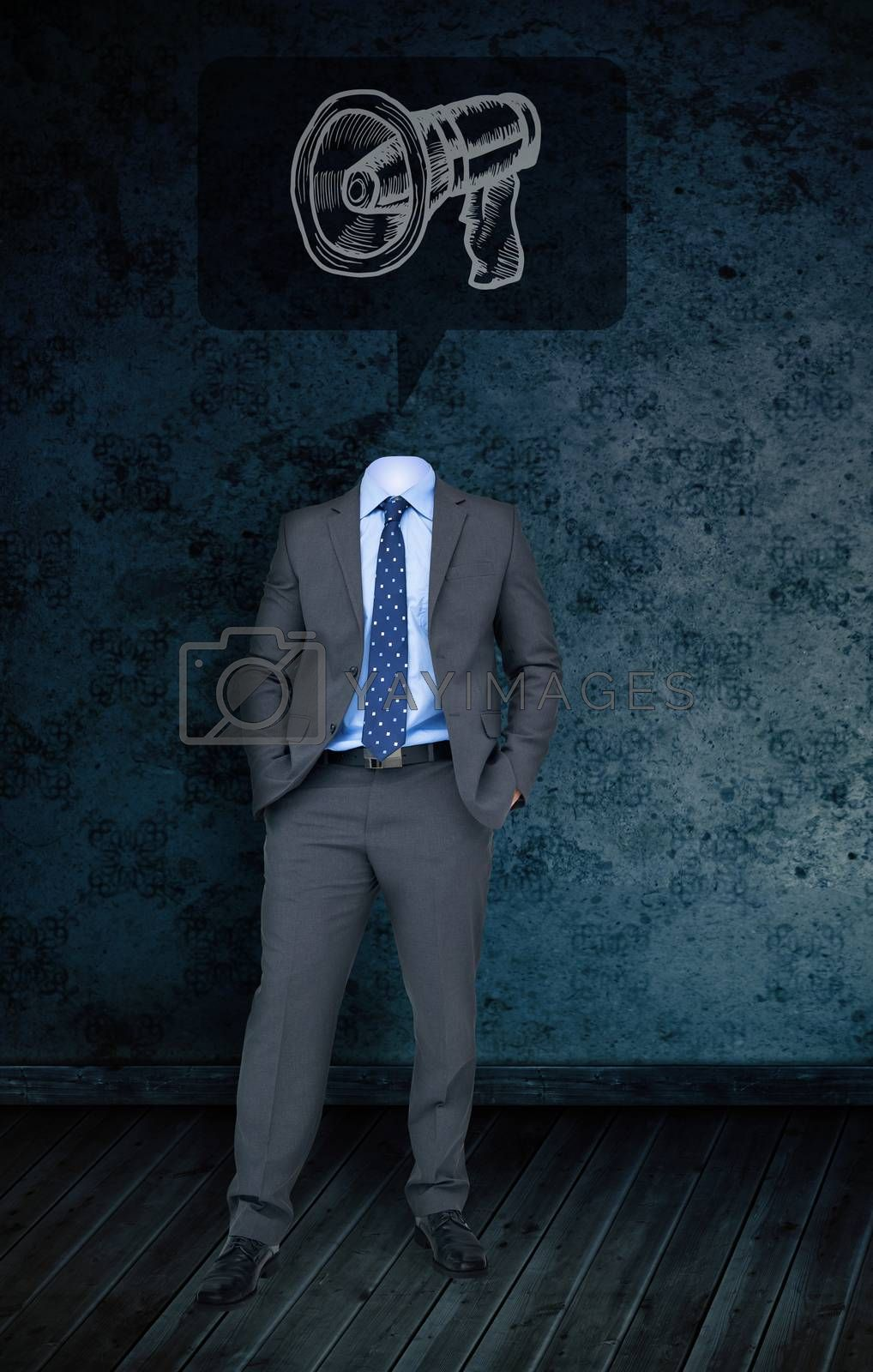 Composite image of headless businessman with megaphone doodle against dark grimy room