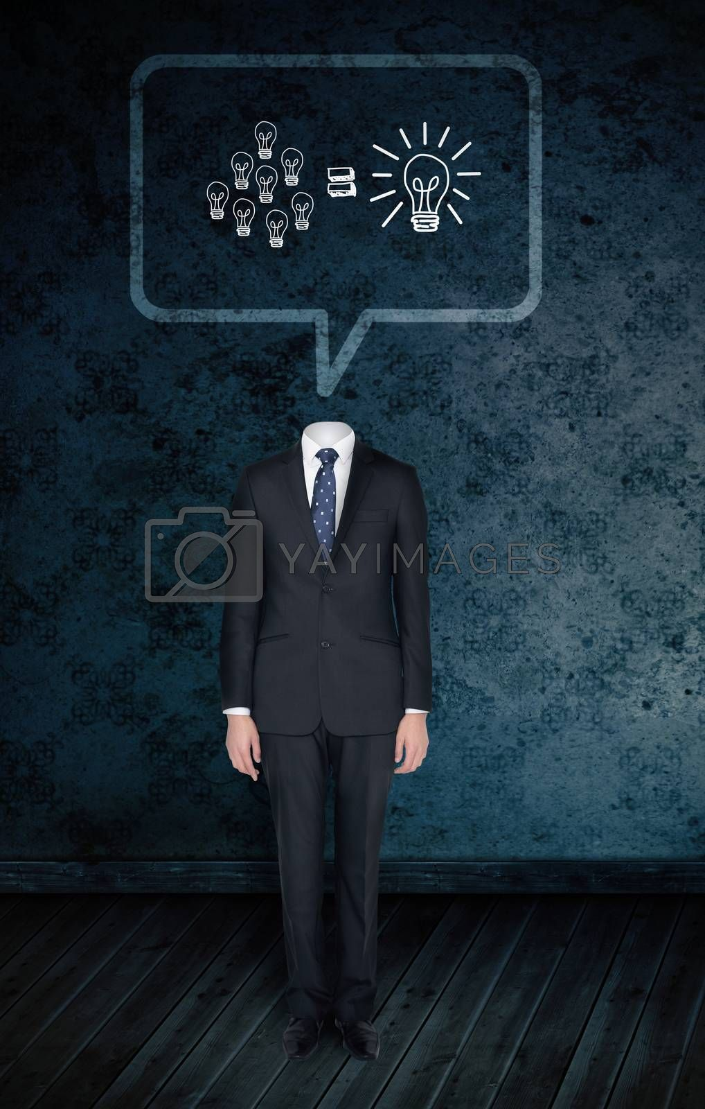 Composite image of headless businessman with light bulbs in speech bubble against dark grimy room