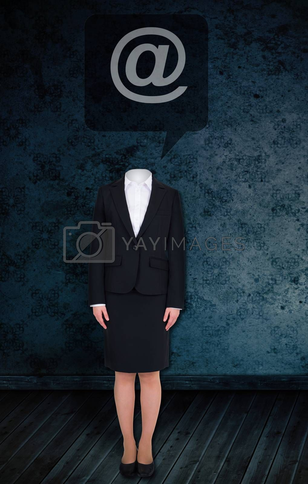 Composite image of headless businesswoman with at sign against dark grimy room