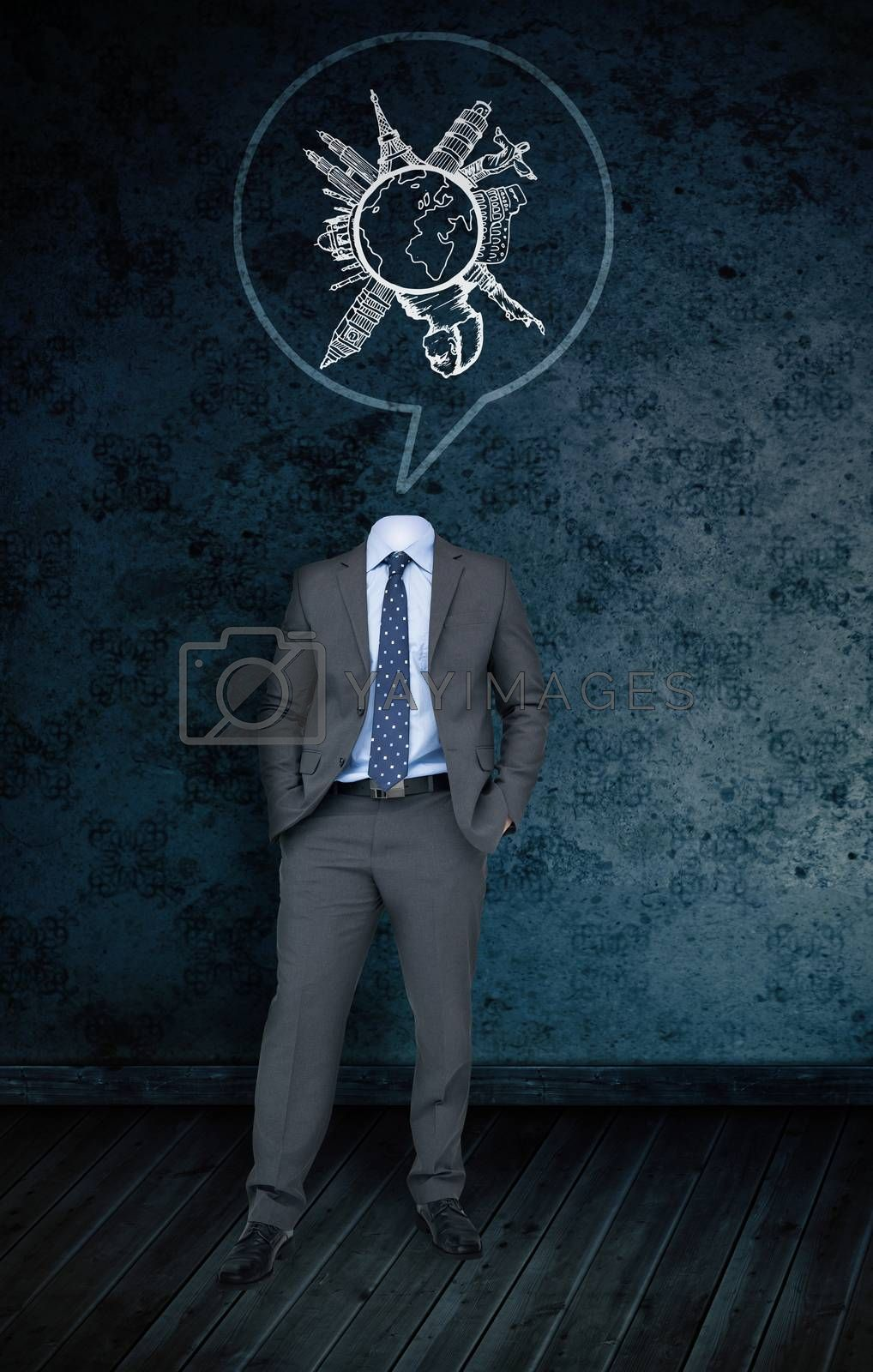 Composite image of headless businessman with tourism doodle in speech bubble against dark grimy room