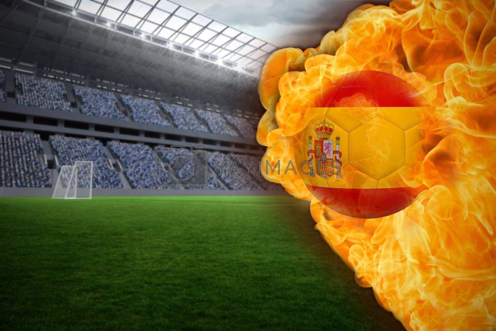Fire surrounding spain flag football by Wavebreakmedia