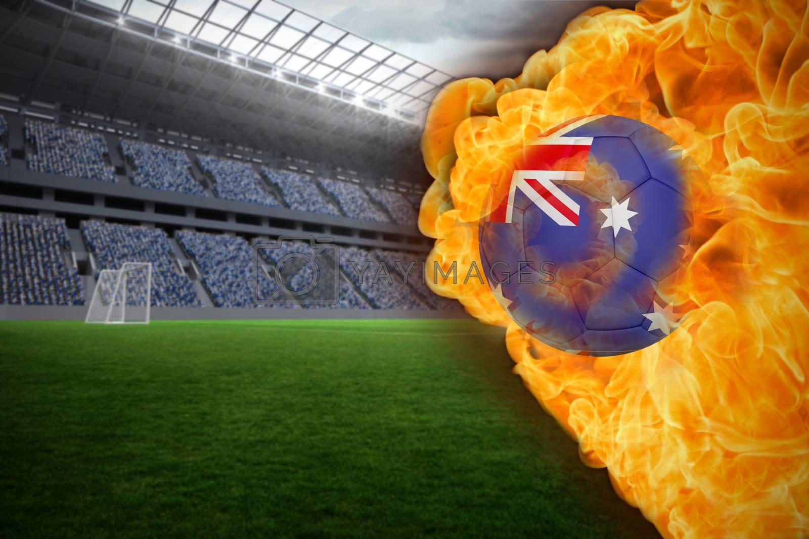 Fire surrounding australia flag football by Wavebreakmedia