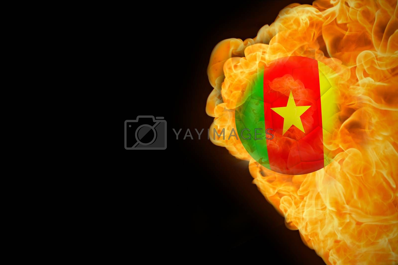Fire surrounding cameroon flag football by Wavebreakmedia